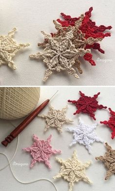 Snowflakes Crochet Decorations for Winter Free Crochet Snowflake Patterns, Crochet Stars, Christmas Crochet Patterns, Holiday Crochet, Crochet Snowflakes, Crochet Flowers, Crochet Birds, Crochet Animals, Crochet Christmas Decorations