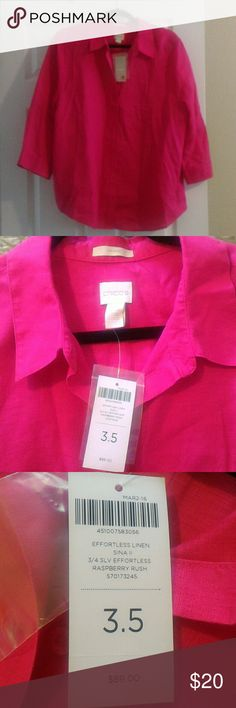 Chico's Linen Top Raspberry rush color, button down, linen top. Brand new with tags. Chico's Tops