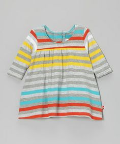 Take a look at this Gray & Blue Stripe Princess Dress - Infant by Zutano on #zulily today!