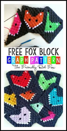 This crochet fox block is the perfect way to learn the graph method! Make a crochet baby blanket or any size you want. Crochet Blocks, Crochet Squares, Crochet Blanket Patterns, Baby Blanket Crochet, Crochet Motif, Crochet Yarn, Free Crochet, Crochet Blankets, Crochet Fox Pattern Free