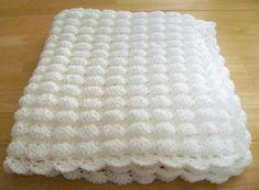 CROCHET WHITE BABY BLANKET SHELL PATTERN HANDMADE GIRL BOY GREAT GIFT BAPTISM uk.picclick.com