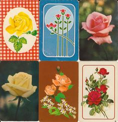 Vintage Playing Cards ROSES paper ephemera for scrapbooking collage altered art paper Crafts 2 each of 10 designs. $6.50, via Etsy.