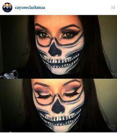 Half skull makeup