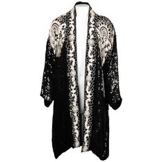 Preowned 1980s Vintage Sequin Beaded Silk Duster Coat Or Kimono Jacket... ($595) ❤ liked on Polyvore featuring outerwear, jackets, multiple, beaded jacket, vintage silk kimono, asymmetrical jacket, oversized jacket and sequin jacket