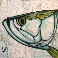 "Tarpon painting by Carin Vaughn on nautical charts 12""x12"".  via Etsy."