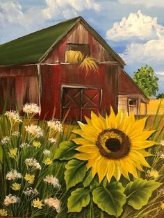 Sunflower Barn Course Video – Dewberry U Sunflower Canvas Paintings, Simple Acrylic Paintings, Acrylic Art, Canvas Art, Paintings Of Sunflowers, Fall Canvas Painting, Growing Sunflowers, Barn Pictures, Pictures To Paint