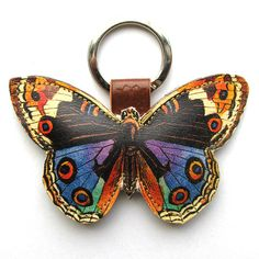 Leather keychain / bag charm  Butterfly by corrietovi on Etsy, $18.00