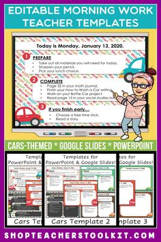 These cars-themed Editable PowerPoint and Google Slides Teacher Templates include space to type the day and date, reminders of what to do when entering the classroom, as well as 'must do' and 'may do' assignments. Remind your students of their morning assignments during arrival time by displaying them on your whiteboard or SMARTBoard. #teachertemplates #morningarrivalinstructions #editable #powerpoint #googleslides #funthemes #cars