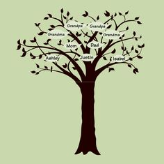 """Create a family tree with the Faded Forest mural. Just add """"leaves"""" with the names of your family!"""