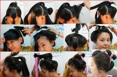 日本髪っぽく自分で自毛結いの結い方を一枚にまとめました how to make your hair in japanese style◆2013/12/17髪結い練習会@大阪、参加者募集→http://amba.to/1fimYJQ