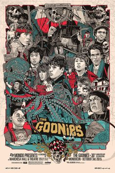 "The Goonies by Tyler Stout. 24""x36"" screen print. Hand numbered. Edition of 750. Printed by D&L Screenprinting. $60"