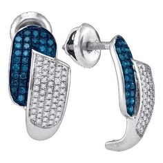 1/2CTW-Diamond MICRO-PAVE BLUE EARRING