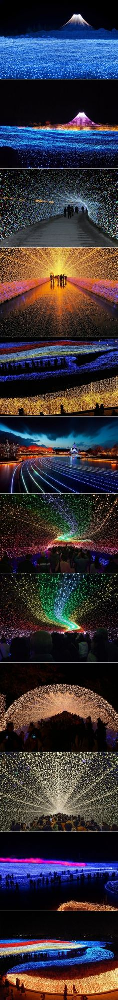 Japan's Winter Lights Festival,  Kuwana City, Mie Prefecture. 'Nabano No Sato' is a flower-focused park featuring sprawling gardens and giant greenhouses. Annually from mid November to mid March it features one of Japan's finest Winter Illuminations, including the famous tunnel of light. Photos by various photographers on Flickr. S)