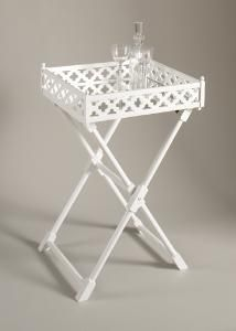 Clover Mirrored Tray Table in White