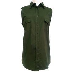 New Duo Maternity Dark Green Stretchy Sleeveless Poplin Shirt