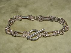 """Sterling Silver Byzantine 7 5"""" Ornate 925 Bone Link Cuff Bracelet Artist Signed   eBay"""
