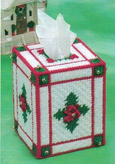 CHRISTMAS HOLLY TISSUE BOX COVER PLASTIC CANVAS PATTERN INSTRUCTIONS…