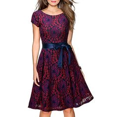 Women's Casual Street chic Loose Shift Lace Dress,Floral Embroidered Round Neck Knee-length Short Sleeves Silk Cotton Summer Fall Mid Rise 2017 - $16.19
