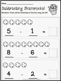 Subtracting Shamrocks! St. Patrick's Day FREEBIE!
