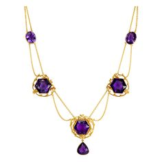 An Art Nouveau Amethyst and Gold Necklace | From a unique collection of vintage drop necklaces at http://www.1stdibs.com/jewelry/necklaces/drop-necklaces/
