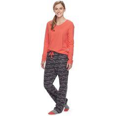 Women's SONOMA Goods for Life™ Pajamas: Top, Pants & Socks 3-Piece PJ Set, Size: Xxl Short, Black