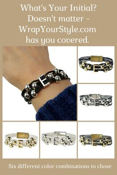 What's your initial? Really doesn't matter. WrapYourStyle has you covered with six different color combinations to chose from and all the initial in the alphabet. #wrapyourstyle #initialbracelets #initialjewelry #monograminitialbracelets #leathermonogramwrapbracelets #personalizedjewelry