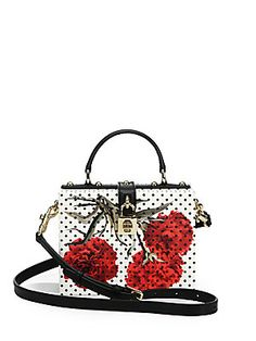 Dolce & Gabbana Polka-Dot Floral Textured-Leather Shoulder Bag.  Love this!
