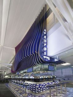 Apropos is the second restaurant Eventscape completed as part of the impressive renovation and upgrade of Toronto Pearson International Airport. Restaurant Design, Restaurant Bar, Architecture Details, Interior Architecture, Retail Facade, Airport Design, Facade Lighting, 3d Cnc, Lighting Concepts