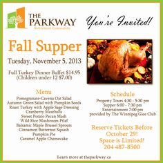 Enjoy Senior living at The Parkway Retirement Community and join us for our upcoming Fall Supper prepared onsite by our very own Red Seal Chefs! Senior Living, Youre Invited, Holidays And Events, Tandoori Chicken, Roast, Pumpkin, Dinner, Celebrities, Fall