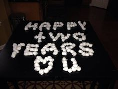 2nd anniversary is cotton so I left a message with cotton balls.