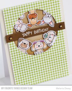 My Favorite Things Wednesday Sketch Challenge 373 - MFT Canine Companions Yappy Birthday card by Melania Deasy