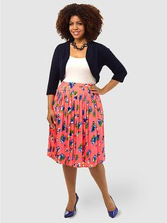 Pleated Skirt In Floral Print by Asos Curve