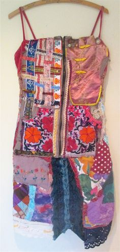 Collage Clothing VELVET SWEATSHIRT CORSET  Wearable Folk Art Tunic Dress Patchwork Quilt Vintage Linens Random Scraps of Fabric  // by MyBonny on Etsy