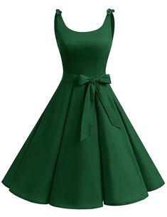 e90366e1e55 1950 s Bowknot Vintage Retro Polka Dot Rockabilly Swing Dress - Green -  CZ12HAV4CID