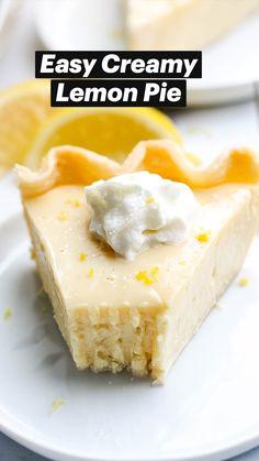 Easy Lemon Pie, Lemon Pie Recipe, Lemon Dessert Recipes, Sweet Desserts, Cheesecake Recipes, Easy Desserts, Baking Recipes, Delicious Desserts, Healthy Lemon Desserts