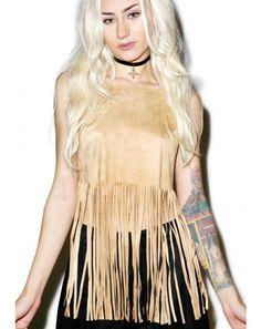 #DollsKill #Festival #Coachella #lookbook #photoshoot #model Genesis #fringe #crop #top