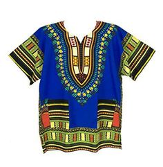 50 Color Dashiki African Mexican Poncho Tribal Shirt Blouse Cotton Unisex UK Var