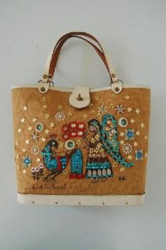 """An original Enid Collins bag from the sixties. This one is called """"Bird in hand""""."""