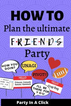 How to plan the ultimate Friends Theme Party! Printable Labels, Party Printables, Bachelorette Drinking Games, Bachelorette Decorations, Friends Tv Show, Get The Party Started, Maid Of Honor, Party Games, Birthday Ideas