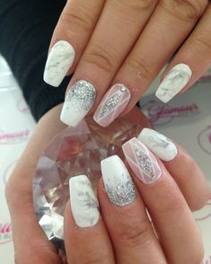Coffin nails with marble and glitter                                                                                                                                                     More