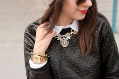 style tip: layering a necklace underneath the collar. | our necklace styled by @Adventures in Fashion
