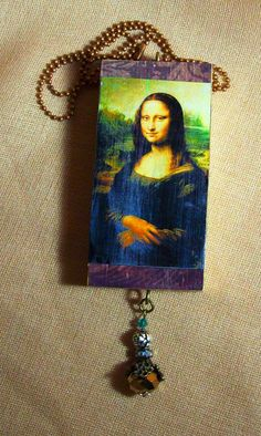 Classical Da Vinci Wearable Art Mona Lisa Mixed Media Art Necklace by louzart