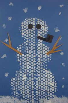 """bubble wrap snowman - done this before and it's neat.  it's easier though if you make pre-cut circle """"gloves"""" - ie. staple or glue 2 pieces together to they can put their hands inside.  makes it easier to paint."""