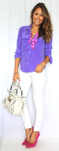 J's Everyday Fashion provides outfit ideas, budget fashion, shopping on a budget, personal style inspiration, and tips on what to wear. Purple Shirt Outfits, Cool Outfits, Casual Outfits, Purple Blouse, Look Fashion, Fashion Outfits, Womens Fashion, Spring Summer Fashion, Spring Outfits