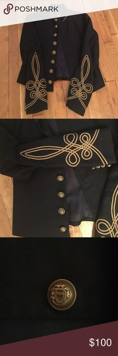 Ralph Lauren Admiral Jacket- Blue Label!! Navy cotton jacket with gold bullion trim detail on sleeve- very intricate! RL script buttons. Jacket is cropped with mandarin collar; gold stitching around collar as well. Size 2 Ralph Lauren Blue Label Jackets & Coats Blazers