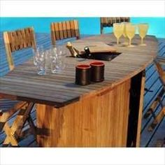 """Greenwich Point Bar Groups - Bar with 4 Teak Bar Stools - Teak Patio Furniture by Les Jardins. $3699.00. Teak Bar Groups. This is obviously not your father's teak!  The crossover to the modern contemporary design is a result of European influences.  The Amalfi collection is made from the highest quality teakwood from Indonesian plantations, with weather resistant sling and corrosion resistant metals. Amalfi features  a 67"""" dining table that extends to 88"""" and 109""""..."""