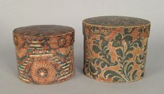"Two wallpaper covered boxes, 19th c., 6"" h., 7"" w. and 5"" h., 6 1/4"" w."