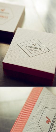 Carton Cocorico Letterpress / Impression 2 couleurs et débossage sans encre
