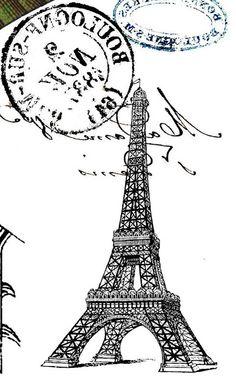 Tour Eiffel . Montage inversé pour transfert