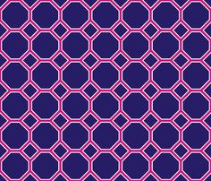 navy magenta octagon fabric by domesticate on Spoonflower - custom fabric